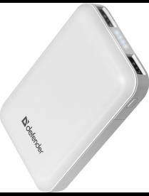 Резервный аккумулятор DEFENDER ExtraLife 10000S Li-pol, 2USB, 10000mAh, 2.1A 83650