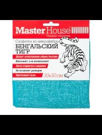 (100017) 75034 Салфетка из микрофибры Бенгальский тигр 30x30см голубая