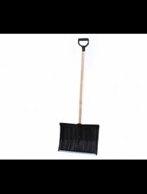 Лопата снеговая 500х380мм пластмассовая с дерев черенком и V-обр. ручкой дубликат