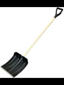 (065246) Лопата снеговая 500х380мм пластмассовая с дерев черенком и V-обр. ручкой (оцинк.планка)