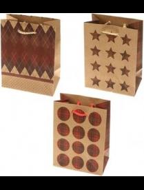"(099161) Пакет подарочный крафт, Размер S,10,8+6,4х14,6см ""Фигуры"" MIX 3 дизайна/60/12 (30)"