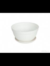 (020596) ДМ303Б Горшок цв. Алиса 15см с подст.(белый)