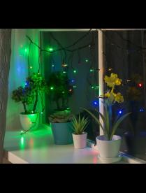 """Гирлянда """"Бахрома"""", 1.8 х 0.5 м, LED-48-220V, 8 режимов, нить прозрачная, МУЛЬТИ"""