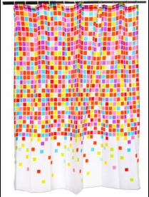 """461-445 VETTA Шторка для ванной, ткань полиэстер с утяжелит, 180x180см, """"Разноцветная мозаика"""", Диза"""