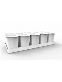 (095287) АС45801 Набор стаканчиков для рассады с поддоном Flora 364х169х94,3мм (снежно-белый) АС 45