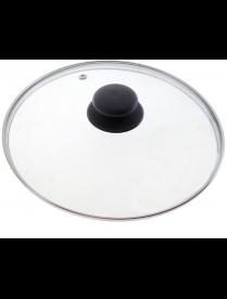 987025 Крышка с ручкой стеклянная 32см., с метал/обод, паровыпуск, низ.
