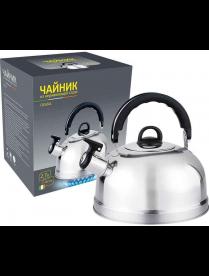 004260 Чайник из нерж стали со свистком Casual, зерк полировка, литраж - 2,7 л, без тм