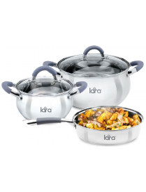 Набор кастрюль LARA 3пр (2,7л+6,1л+сковорода) Bell LR02-102