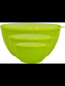 (102501) GR1871ОЛ Набор салатников Bono 5 л + 2,8 л + 1,7 л с крышками оливкавая роща