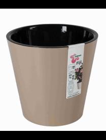 (101105) ING1554ШОК Горшок для цветов Фиджи D 200 мм/4л шоколадный