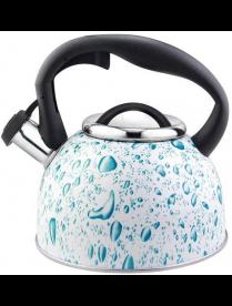 003978 Чайник из нерж стали со свистком серия Lacrima, 2,5 л,окрашенный (белый с голубыми каплями),