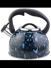 003979 Чайник из нерж стали со свистком серия Lacrima, 2,5 л,окрашенный (черный с синими каплями), M