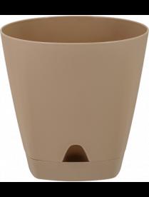 (101824) ING6199МШОК Горшок для цветов AMSTERDAM D 140 с прикорневым поливом 1,35 л Молочный Шоколад