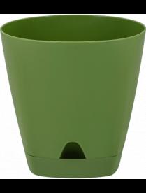 (102435) ING6201ОЛ Горшок для цветов AMSTERDAM D 200 mm/4l с подставкой оливковый