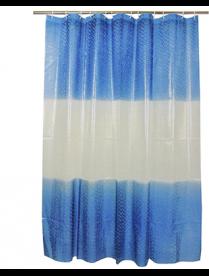 461-470 Шторка для в/комнаты, винил, 180*180см, 12 колец, 3D.полоски, синий