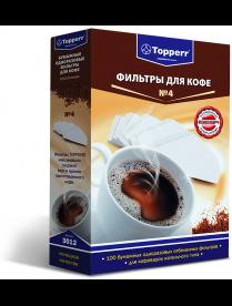 Topperr 3012 Фильтр бумажный для кофеварок №4 (100шт.), отбеленный