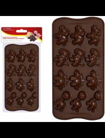 """(105018) Форма для шоколадных конфет силиконовая """"Динозаврики"""". VL80-325"""