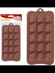 """(105020) Форма для шоколадных конфет силиконовая """"Сердечки"""". VL80-327"""