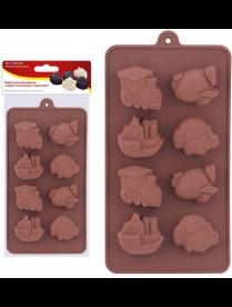 """(105021) Форма для шоколадных конфет силиконовая """"Транспорт"""". VL80-328"""